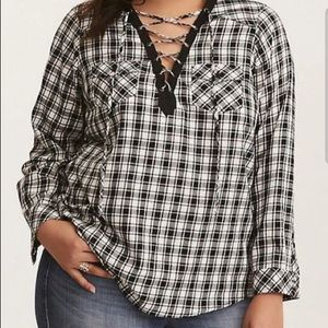 Torrid black and white plaid lace up top
